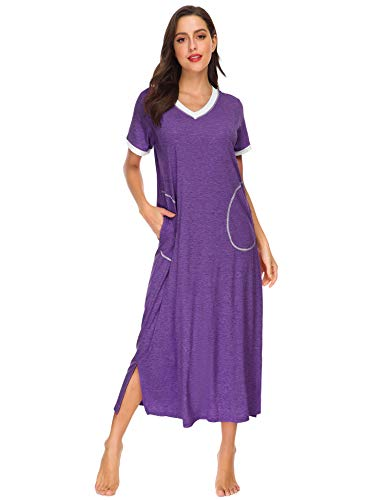 LOMON Long Nightgown Womens Cotton Knit Short Sleeve Nightshirt with Pockets (L, Purple)
