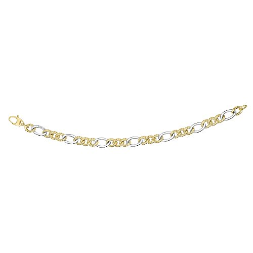 14 Kt Two Tone Gold 7.5 Inch 7.8mm Alternate 3 Short Textured 1 Long Twisted Oval Link Fancy Bracelet with Fish Clasp by Finejewelers