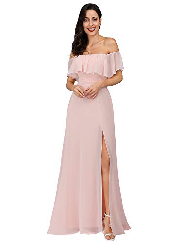 Women Cold Shoulder Dress Side Split Wedding Guest Dress Pink US4