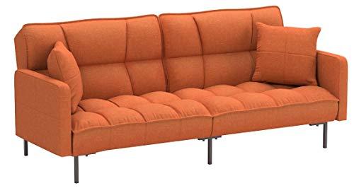 DIVANO ROMA FURNITURE Collection - Modern Plush Tufted Linen Fabric Splitback Living Room Sleeper Futon (Orange)