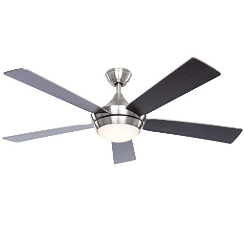 Fanimation Studio Collection Aire Drop 52-in Brushed Nickel LED Indoor Downrod Ceiling Fan with Light Kit and Remote (5-blade)