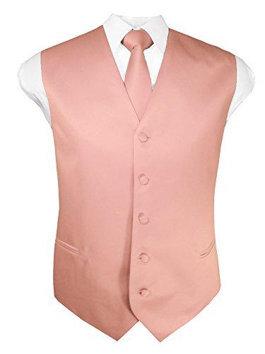 Guytalk Mens 3 Piece Tuxedo Vest for Formal Party, Wedding, Prom, Bartender Large Peach ()