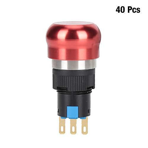 ボタンプッシャーモーメンタリープッシュボタン、40個BEM-16-11ZSステンレス鋼24V電磁スターターDIY用