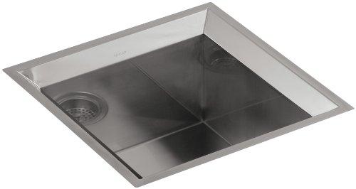 Angular Stainless Steel Kitchen Sink (KOHLER K-3391-H-NA Poise 18-Inch X 18-Inch Single Basin Undercounter Sink)