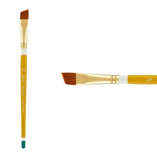 Creative Mark Qualita Golden Paint Brush Taklon Short Handle Paint Brush for Acrylics, Oils, Fine Art, Heavy Bodied Media - Single Brush - [Angular - Size 1/2in]