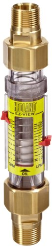 - Hedland H625-110 EZ-View Flowmeter, Polysulfone, For Use With Oil and Petroleum Fluids, 1.0 - 10 gpm Flow Range, 3/4