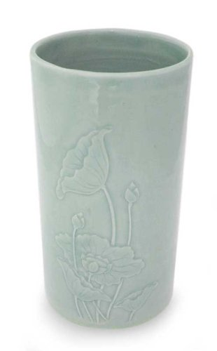 NOVICA Floral Celadon Ceramic Vase, Green, 'Lotus Dance' by NOVICA