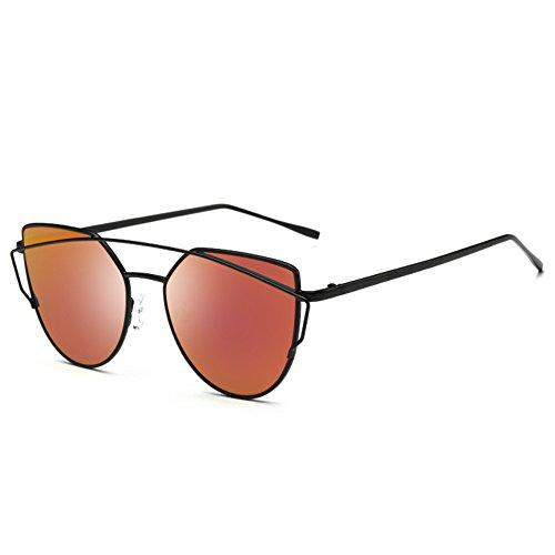 Joopin Fashion Women Metal Frame Cat Eye Sunglasses Classic Brand Designer Mirror Flat Panel Lens UV402 Coating Sunglasses (Black Frame Red - Name Brand Sunglasses Wholesale