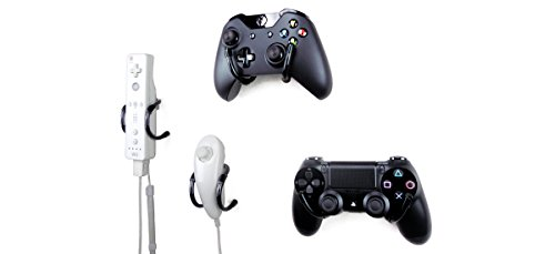 Wall Clip – Xbox, PlayStation, Wii, and Retro Game Controller Organizer – 4 Pack, Black