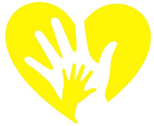 Love Heart Hands Sticker Decal (12''x8'', Yellow)