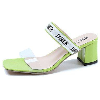 LvYuan Mujer Sandalias Confort PU Verano Casual Paseo Confort Tacón Robusto Blanco Amarillo Verde 7'5 - 9'5 cms Green