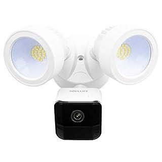 SoulLife Security Floodlight Camera, 1080P HD Outdoor Security Camera Motion-Activated Security Cam Two-Way Audio and Siren Alarm, 2200-Lumen Brightness, IP65 Waterproof, Works with Alexa