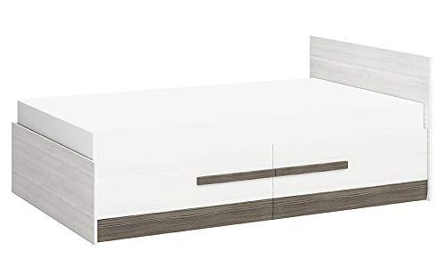 Einzelbett/Gästebett Knoxville 17, Farbe: Kiefer Weiß/Grau - Liegefläche: 120 x 200 cm (B x L), mit 2 Schubladen