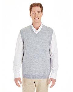 Harriton Mens Pilbloc V-Neck Sweater Vest (M415) -GREY HEATH -5XL
