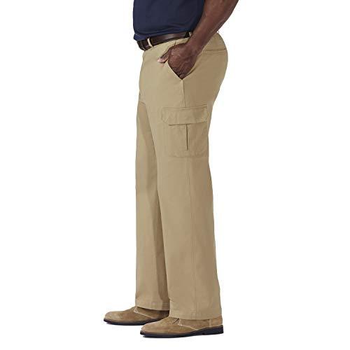 a4efc65c Haggar Men's Big-Tall Stretch Comfort Cargo Expandable Waist Classic Fit Plain  Front Pant,