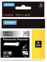 Dymo 18485 Metallized permanent polyester tape - black on silver - Roll (0.35 in x 18 ft) 1 roll(s) - for Rhino 4200, 6000, 6000 Hard Case Kit; RhinoPRO 1000, 3000, 5000