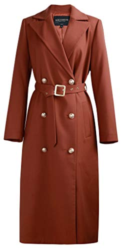 (ROEYSHOUSE Women's Terracotta Trench Coat Double Breasted Jacket with Belt)
