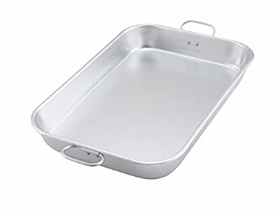 "Winco ALBP-1218, 17-3/4""L x 11-1/2""W x 2-1/4""H Aluminum Bake And Roasting Pan With Drop Handle, Commercial Grade Roasting Baking Pan"