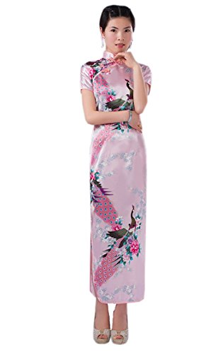 Women Vintage Peacock Short Sleeve Long Qipao Dress Chinese Clothing Pink 12