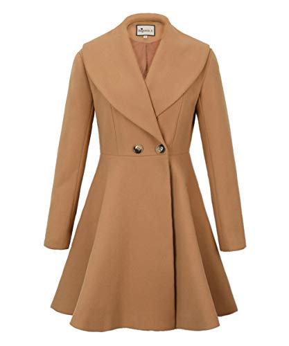 Begonia.K Women's Wool Trench Coat Lapel Wrap Swing Winter Long Overcoat Jacket, Camel, US L=Tag XL ()