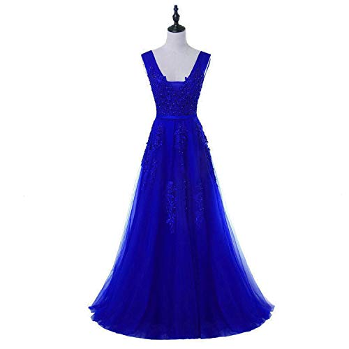 2007 Press Photo - V Neck Long Evening Dress Bride Party Sexy Backless Beads Pearls Prom Dresses,Royal Blue,8