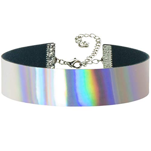Twilight's Fancy Silvery Rainbow Metallic Hologram Holographic Choker Necklace (Small)