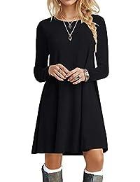 Women's Long Sleeve T Shirt Dresses Casual Swing Dress