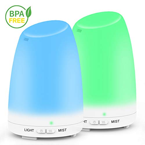 2PACK Essential Oil Diffuser, Ms Kelly 120ml Aromatherapy Diffuser With Auto Shut-off,Ultrasonic Cool Mist Humidifier, 7 Colorful LED Lights for Office, Bedroom, Spa, Yoga, Baby Room