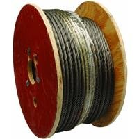 Galvanized Steel Wire Rope on Reel, 7x7 Strand Core, 1/8'' Bare OD, 500' Length, 340 lbs Breaking Strength