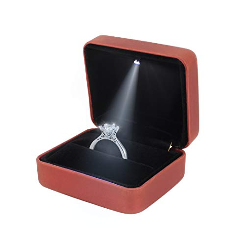 Orita Engagement Ring LED Light Ring Box Jewelry Gift Box Christmas Gift]()