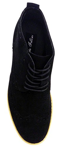 Alberto Fellini Dt3a Mens Fotled Oxfords Stövlar Vingspets Klassiska Brogue Snörning Mocka Fodrade Chukka Casual Skor, Svart, Sand, Grå, Marinblå Svart