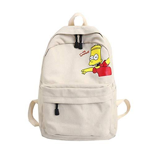 (YOURNELO Student's Cartoon Simpson Printing High Capacity Canvas Backpack Bookbag School Bag (Beige))