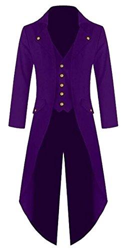 LD Mens Vintage Trench Coat Solid Color Split Swallowtail Tuxedo Overcoat Purple S