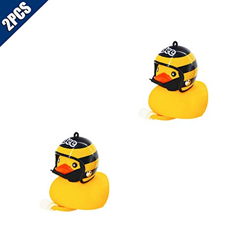 KOOBOOK 2Pcs Lovely Helmet Duck Bicycle Light Cartoon Duck Head Light Shining Duck Bike Bicycle Handlebar Bell Light Horn Lamp