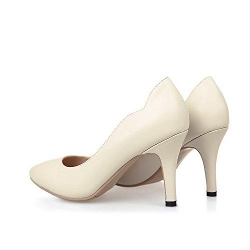 AllhqFashion Damen Spitz Zehe Hoher Absatz Weiches Material Rein Ziehen auf Pumps Schuhe Cremefarben