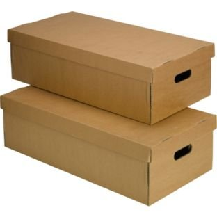 Marvelous StorePAK Set Of 2 32 Litre Cardboard Underbed Lidded Boxes, Size H18.4,