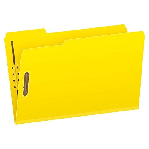 Pendaflex Pressboard Fastener Folders, Legal Size, Yellow, 2'' Expansion, 1/3 Cut, 25/BX (29939) by Globe Weis