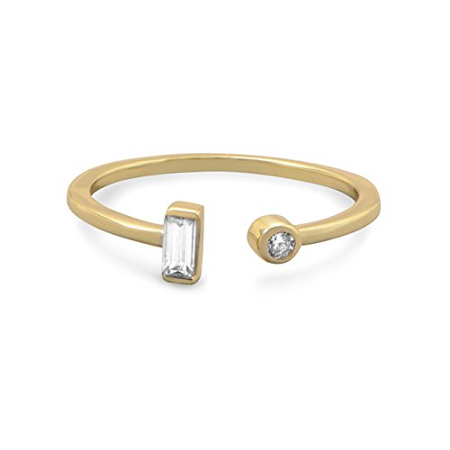 Gld-Flashed Sterling Silver Ring An Open Featuring Round Cubic Zirconia Baguette Cubic Zirconia Ends 5 6 7 8 Ring Size Options