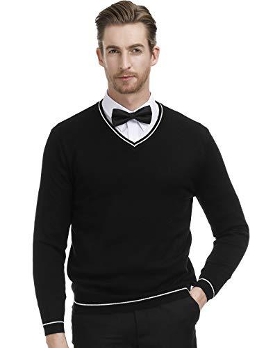 (Men's Knitting Sweater Stylish Long Sleeve V-Neck Pullover Striped Size L Black)