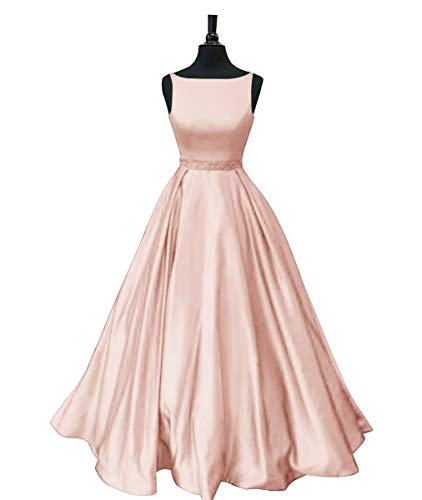 (Staypretty Long Prom Dresses with Pockets Satin Formal Beaded A-line Evening Gowns for Women Rose Gold 8)