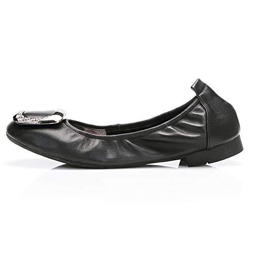 FLYRCX Zapatos Planos de Cuero Suave de la Primavera y del otoño Zapatos Planos Plegables Zapatos de Ballet portátiles señoras Zapatos de Trabajo cómodos Zapatos de Maternidad Antideslizantes A