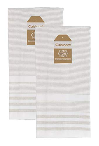 Cuisinart 100% Cotton Hand and Dish Kitchen Towels - Absorbent, Lightweight, Soft & Machine Washable- Dry Hands and Dishes - Set of 2, 16 x 28 Towels, Casual Stripe- Taupe ()