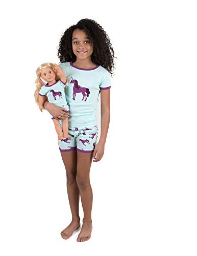 Leveret Shorts Kids Pajamas Matching Doll & Girl Pajamas Set (Unicorn,Size 8 Years)