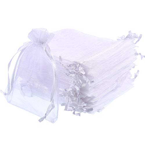 Mudder 50 Pack Organza Gift Bags Wedding Party Favor Bags Jewelry Pouches Wrap, 4 x 4.72 Inches (White)
