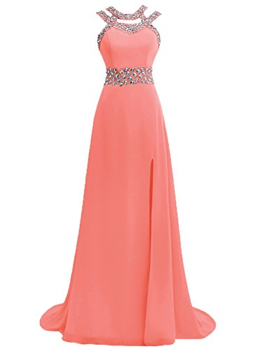 JAEDEN Women's Long Prom Dresses Chiffon Bridesmaid Dress Beaded Formal Evening Gown Watermelon US8