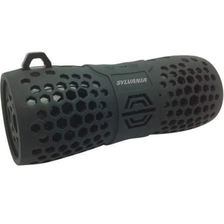 Sylvania SP353 Water Resistant BlueTooth Rugged Speaker, Black/ Grey (Renewed)