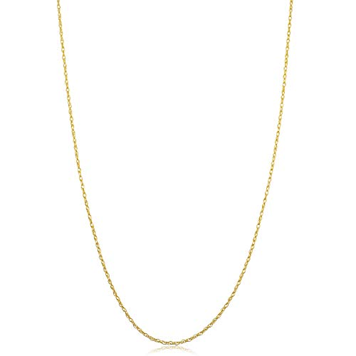 Solid 14k Yellow Gold Rope Chain Necklace (0.7 mm, 0.9 mm, 1 mm or 1.3 mm) (18.00, 0.9 mm wide)
