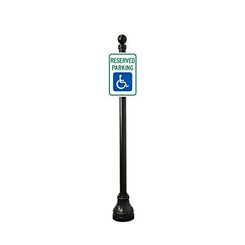 Reflective Reserved Handicap Parking Sign with Decorative Sign 8ft Post (Ball Finial with Bell (Sign Pole Decorative Bases)