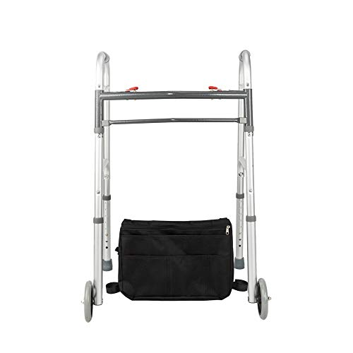 Mefeir Upgraded Push Button Easy Folding Rolling Walker w/Front Wheels&Storage Bag-Mobility Aid for Adult Patient, Senior, Elderly&Handicap, Lightweight, Portable, Adjustable Height, Mobility Aid by Mefeir