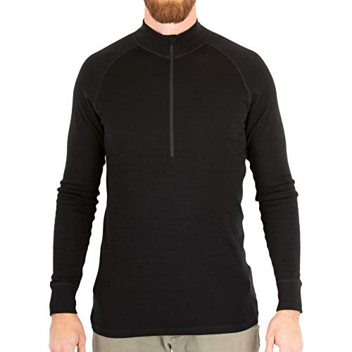 MERIWOOL Men's Merino Wool Midweight Half Zip Top - Black/M (Merino Wool Zip Top)